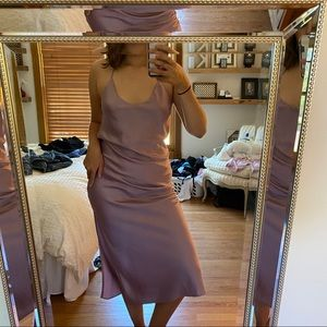 Shimmery Lilac Midi Dress with Leg Slit
